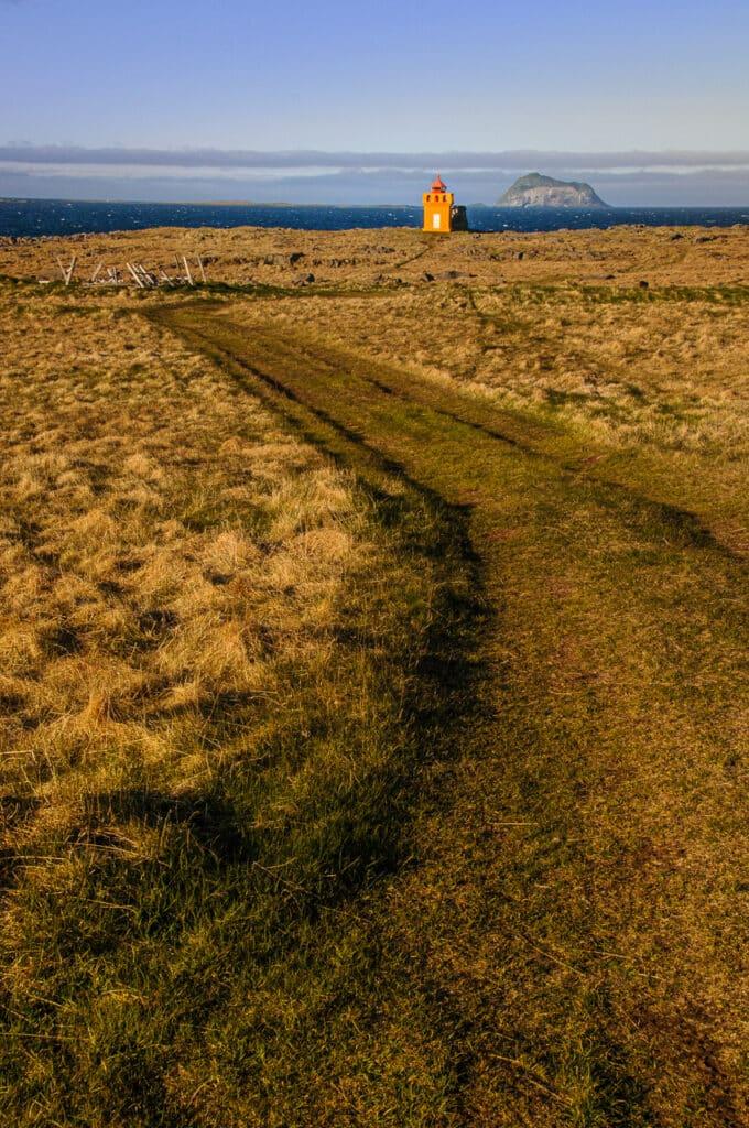 The lighthouse Hafnarnesviti and the island Skrúdur.