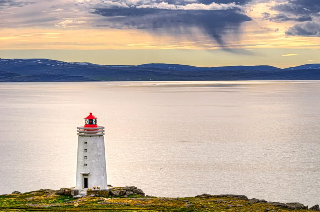 Skardsviti is a lighthouse near the town of Hvammstangi in Iceland.