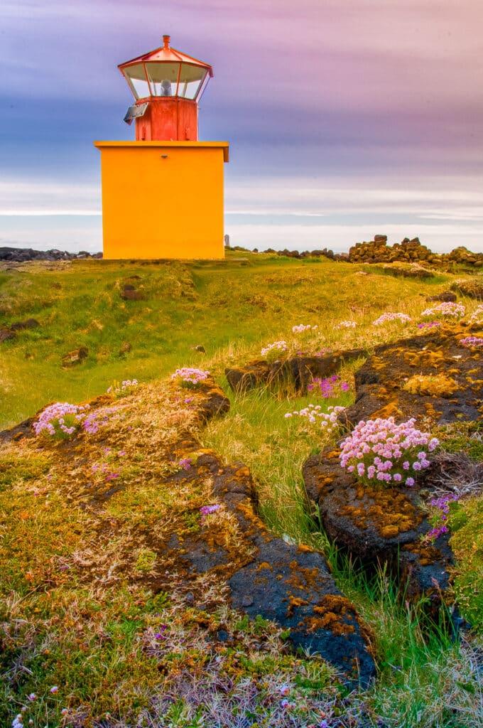 Lighthouse at Öndverðarnes at the tip of the, Snæfellsnes peninsula in western Iceland.