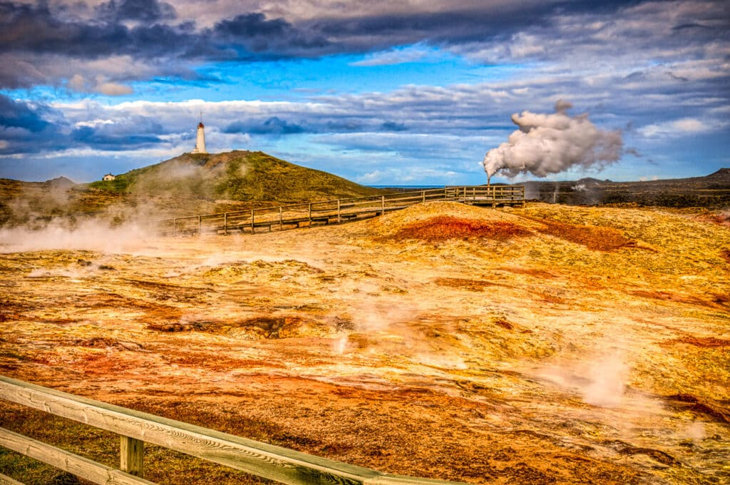 View over the Gunnuhver geothermal field at the southwestern corner of Iceland.