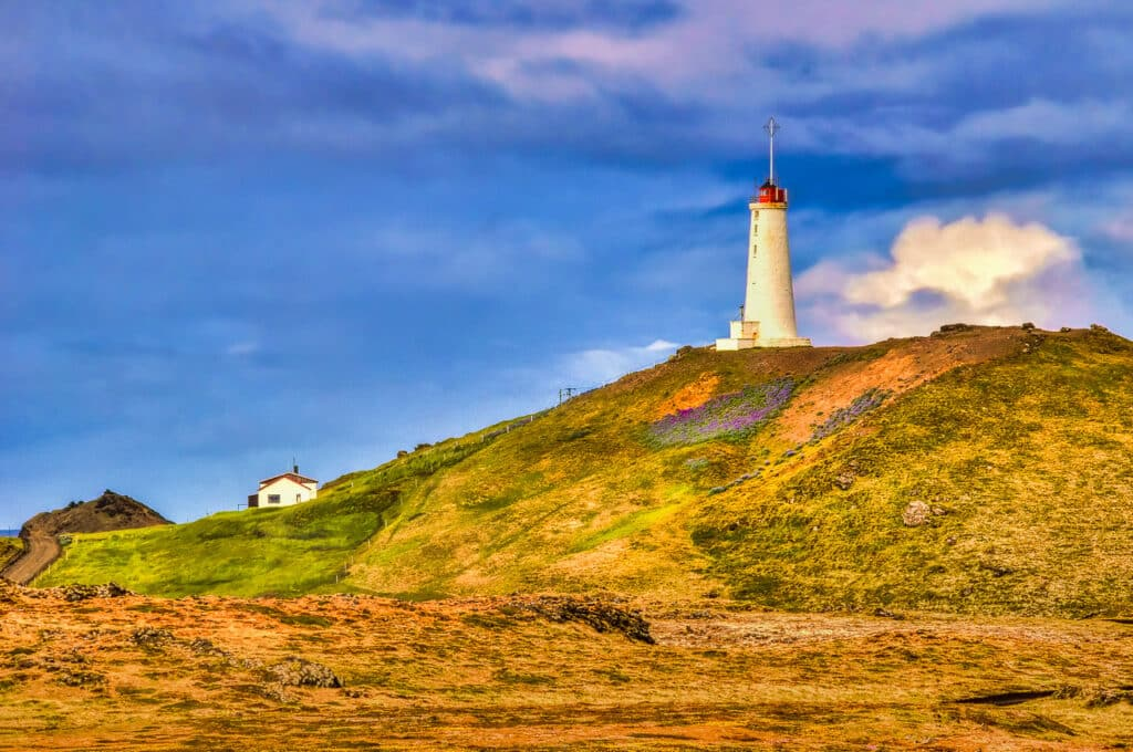 Lighthouse near the Gunnuhver geothermal field at the southwestern corner of Iceland.