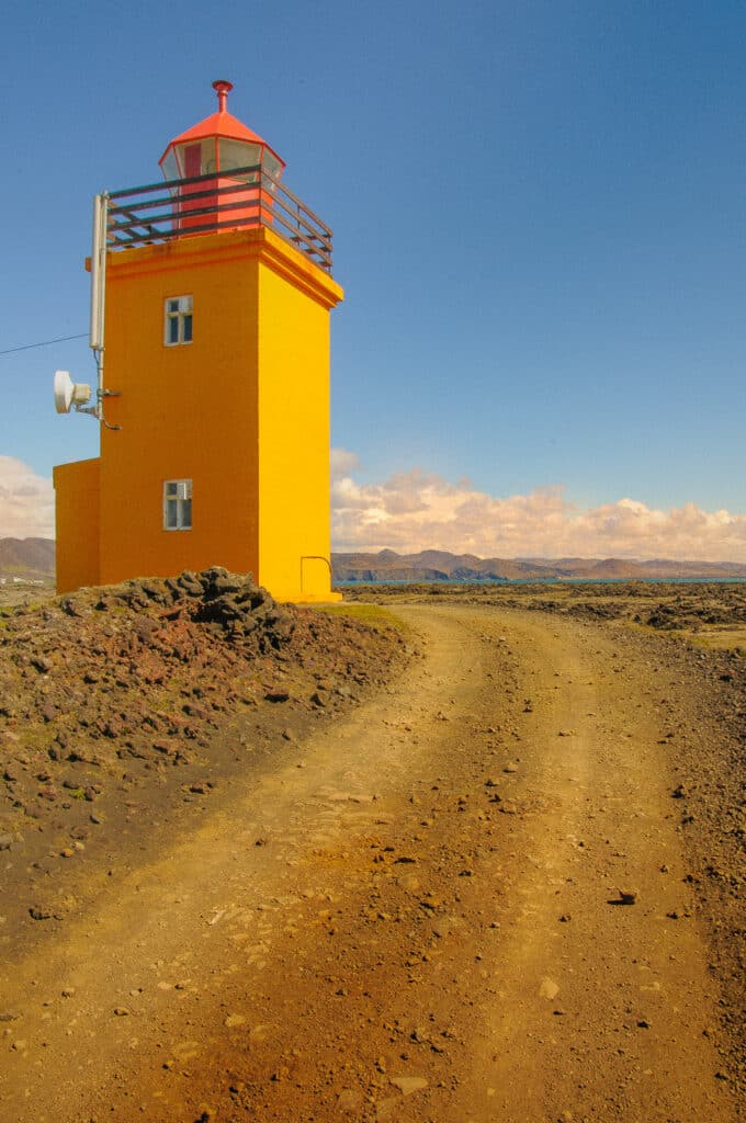 The Hópsnes lighthouse sits on the southwest coast of Iceland, just south of Grindavik.