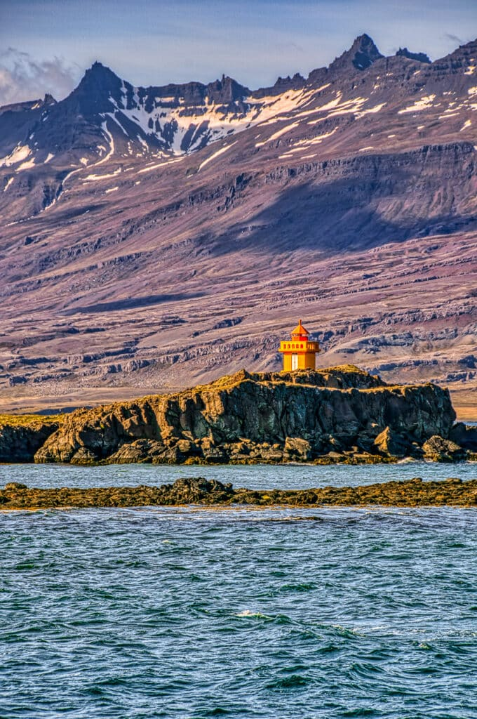 The Æðarstein Lighthouse is at the town of Djúpivogur in south Iceland.