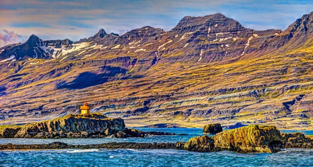The Æðarstein Lighthouse at the town of Djúpivogur in south Iceland.
